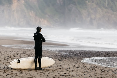A person in a wet suit standing on a beach